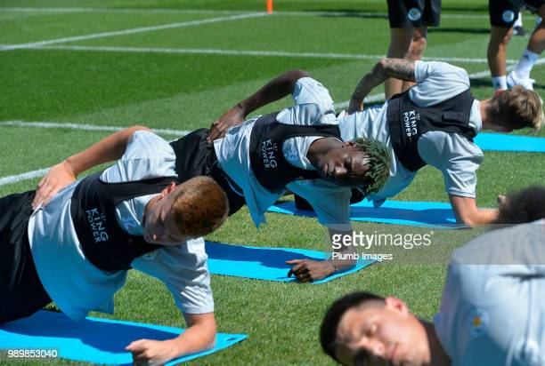 Fousseni Diabate during training as Leicester City Players Return to PreSeason Training at Belvoir Drive Training Complex on July 02 2018 in...