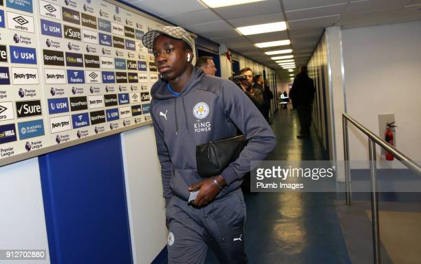 Fousseni Diabate of Leicester City arrives at Goodison Park ahead of the Premier League match between Everton and Leicester City at Goodison Park on...