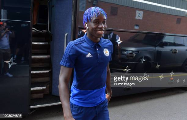 Fousseni Diabate of Leicester City arrives at Meadow Lane ahead of the preseason friendly match between Notts County and Leicester City at Meadow...