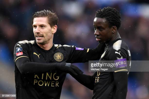 Fousseni Diabate of Leicester City celebrates scoring his side's fourth goal with Adrien Silva during The Emirates FA Cup Fourth Round match between...