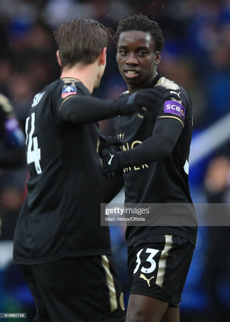 Fousseni Diabate of Leicester City celebrates with Adrien Silva during the FA Cup 4th Round match between Peterborough United and Leicester City at ABAX Stadium on January 27, 2018 in Peterborough, England.