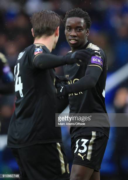 Fousseni Diabate of Leicester City celebrates with Adrien Silva during the FA Cup 4th Round match between Peterborough United and Leicester City at...