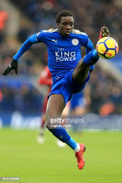 Fousseni Diabate of Leicester City controls the ball during the Premier League match between Leicester City and Swansea City at The King Power...
