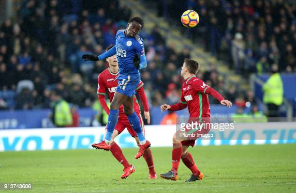 Fousseni Diabate of Leicester City in action during the Premier League match between Leicester City and Swansea City at King Power Stadium on...