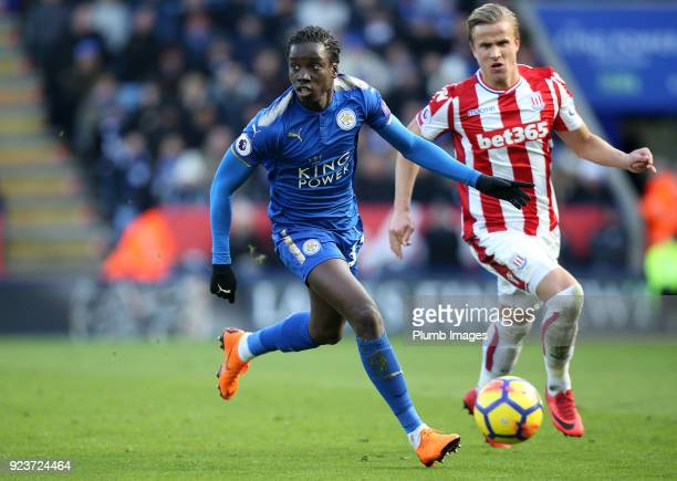 Fousseni Diabate of Leicester City in action during the Premier League match between Leicester City and Stoke City at King Power Stadium on February...
