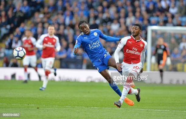 Fousseni Diabate of Leicester City in action with Ainsley MaitlandNiles of Arsenal during the Premier League match between Leicester City and Arsenal...