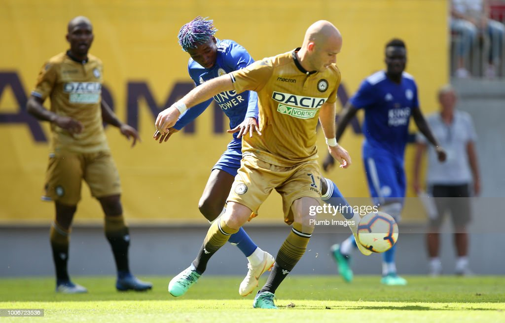 Fousseni Diabate of Leicester City in action with Bram Nuytinck of Udinese during the pre-season friendly match between Leicester City and Udinese at Worthersee Stadion on July 28, 2018 in Klagenfurt, Austria.