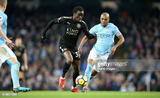 Fousseni Diabate of Leicester City in action with Fernandinho of Manchester City during the Premier League match between Manchester City and...