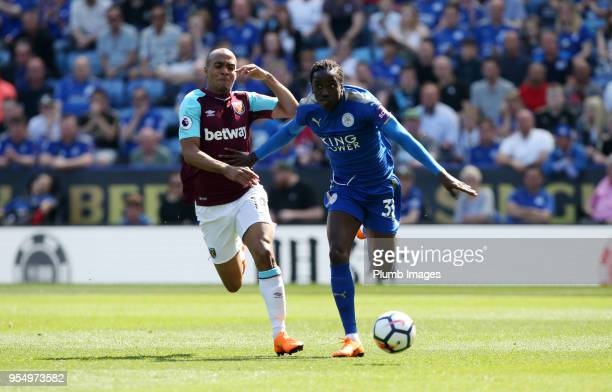 Fousseni Diabate of Leicester City in action with Joao Mario of West Ham United during the Premier League match between Leicester City and West Ham...