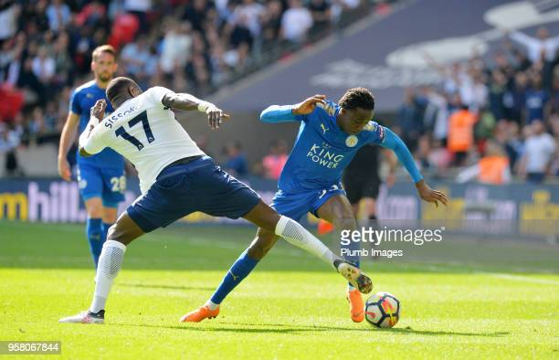 Fousseni Diabate of Leicester City in action with Moussa Sissoko of Tottenham Hotspur during the Premier League match between Tottenham Hotspur and...