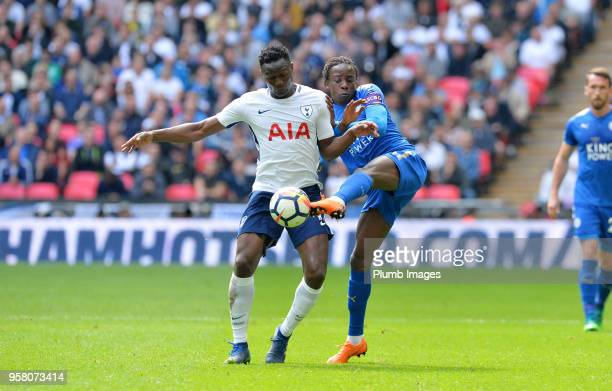 Fousseni Diabate of Leicester City in action with Victor Wanyama of Tottenham Hotspur during the Premier League match between Tottenham Hotspur and...