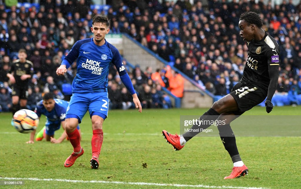 Fousseni Diabate of Leicester City scores his side's fourth goal during The Emirates FA Cup Fourth Round match between Peterborough United and Leicester City at ABAX Stadium on January 27, 2018 in Peterborough, England