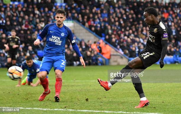 Fousseni Diabate of Leicester City scores his side's fourth goal during The Emirates FA Cup Fourth Round match between Peterborough United and...