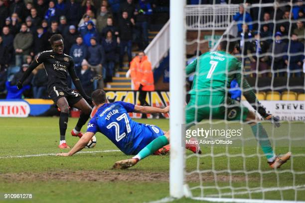 Fousseni Diabate of Leicester City scores their 4th goal during the FA Cup 4th Round match between Peterborough United and Leicester City at ABAX...