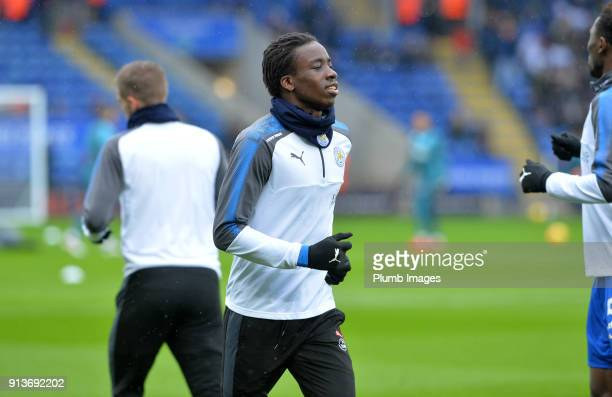 Fousseni Diabate of Leicester City warms up at King Power Stadium ahead of the Premier League match between Leicester City and Swansea City at King...