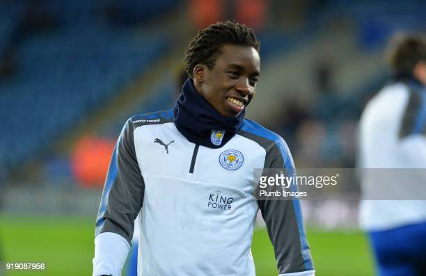 Fousseni Diabate of Leicester City warms up at King Power Stadium ahead of the FA Cup fifth round match between Leicester City and Sheffield United...