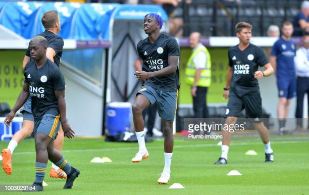 Fousseni Diabate of Leicester City warms up at Meadow Lane ahead of the preseason friendly match between Notts County and Leicester City at Meadow...