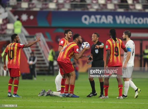 Fousseny Coulibaly of Esperance Sportive de Tunis argues with the referee after a free kick is awarded during the FIFA Club World Cup Qatar 2019...