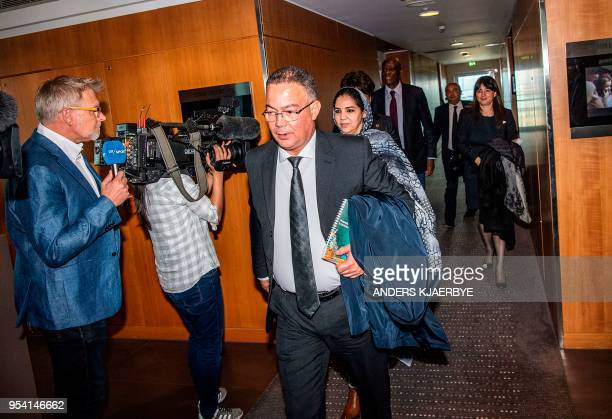 Fouzi Lekjaa President of Moroccos Royal Football Federation and other representatives from Morocco are pictured after a meeting with Danish...