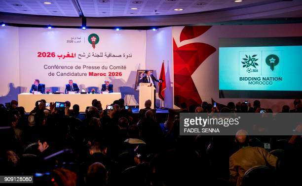 Fouzi Lekjaa President of the Royal Moroccan Football Federation Moulay Hafid Elalamy chairman of the Moroccan Committee bidding for the 2026 World...
