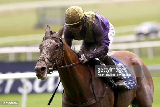 Foveros ridden by Wayne Lordan goes on to win The Heed Your Hunch At Betway Handicap during day two of the Tattersalls Irish Guineas Festival at...
