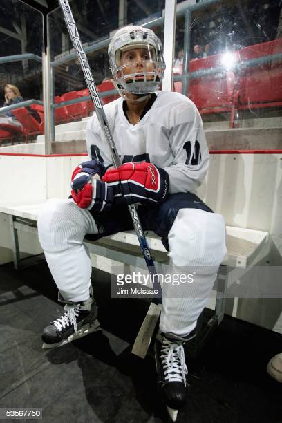 Foward Cammi Granato sits in the penalty box during practice at the USA Hockey National Women's Festival on August 24, 2005 at the Olympic Center in...