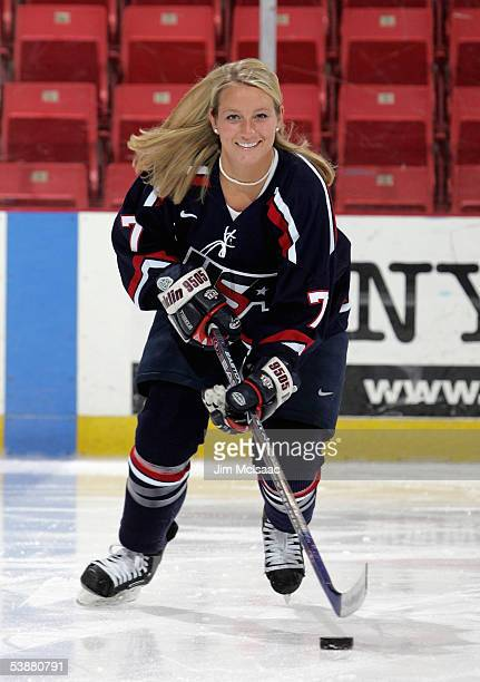 Foward Krissy Wendell skates during a photo session at the USA Hockey National Women's Festival on August 26, 2005 at the Olympic Center in Lake...