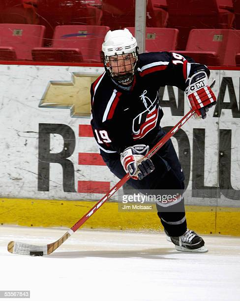Foward Kristin King skates during practice at the USA Hockey National Women's Festival on August 25, 2005 at the Olympic Center in Lake Placid, New...