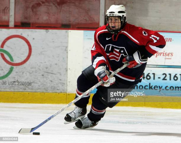 Foward Phil Kessel of the United States skates against Sweden during USA Hockey's Junior Men's Summer Challenge on August 13, 2005 at the Olympic...