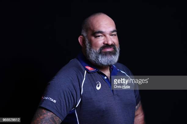Fowards coach Simon Raiwalui poses during the Australian Wallabies headshot session on May 7 2018 in Gold Coast Australia