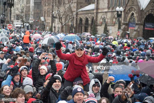 Fox 25 TV reporter at Copley Square during the Victory Parade through the streets of Boston on February 7 in Boston Massachusetts to celebrate...