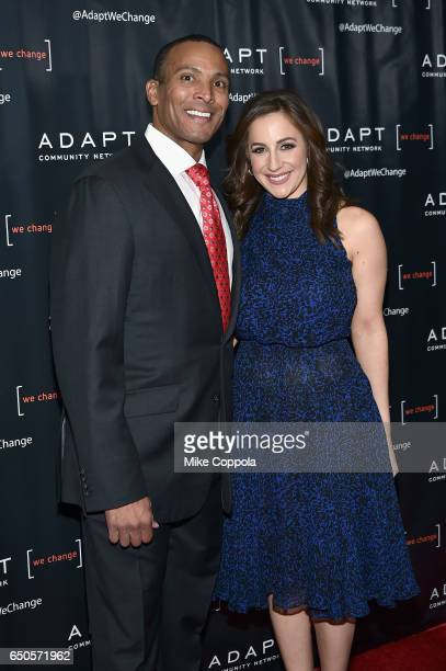 Fox 5 Meteorologist Mike Woods and Fox CoAnchor of 'Good Day Wake Up' Teresa Priolo attend UCP of NYC 70th Anniversary Gala on March 9 2017 in New...
