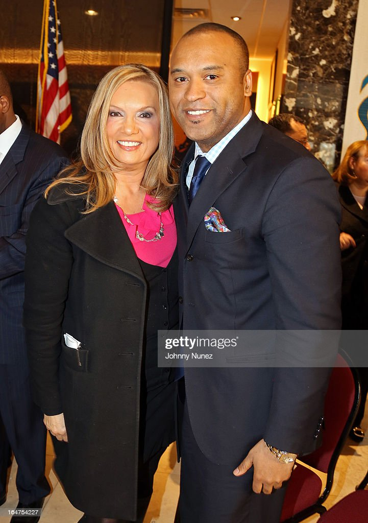 Fox 5 reporter and radio personality Lisa Evers and entertainment attorney L. Londell McMillan attend the Guns 4 Greatness Press Conference at Christian Cultural Center on March 27, 2013, in the Brooklyn borough of New York City.