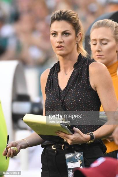 Fox analyst Erin Andrews looks on during the football game between the Minnesota Vikings and the Philadelphia Eagles on October 7 at Lincoln...