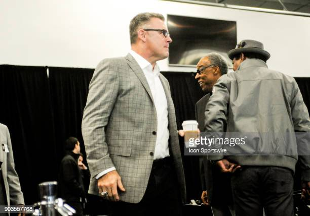 Fox analyst Howie Long walks into the building before the Jon Gruden Press Conference on January 9 2017 at Raiders Headquarters in Alameda CA