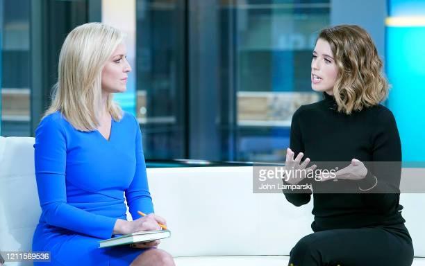 "Fox anchor Ainsley Earhardt interviews Author Katherine Schwarzenegger Pratt during ""Fox & Friends"" at Fox News Studios on March 10, 2020 in New York..."
