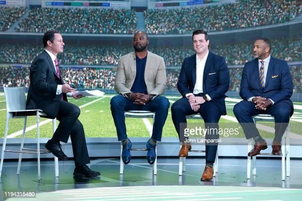 "Fox anchor Brian Kilmeade interviews former New York Giants player Mathias Kiwanuka, Chris Valletta and Pastor Michael Faulkner during ""Fox &..."
