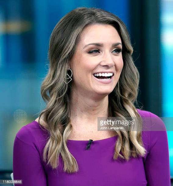 Fox anchor Jillian Mele joins professional baseball player Tim Tebow during Fox Friends at Fox News Channel Studios on October 09 2019 in New York...
