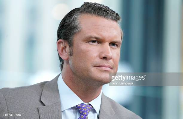 Fox anchor Pete Hegseth interviews entrepreneur and venture capitalist Peter Thiel during FOX Friends at Fox News Channel Studios on August 09 2019...