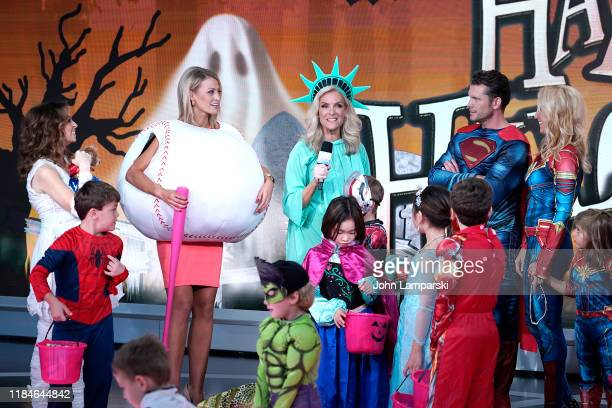 Fox anchors Jedediah Bila Carley Shimkus Janice Dean Pete Hegseth Jennifer Rauchet and children participate in Fox Friends Halloween Celebration at...