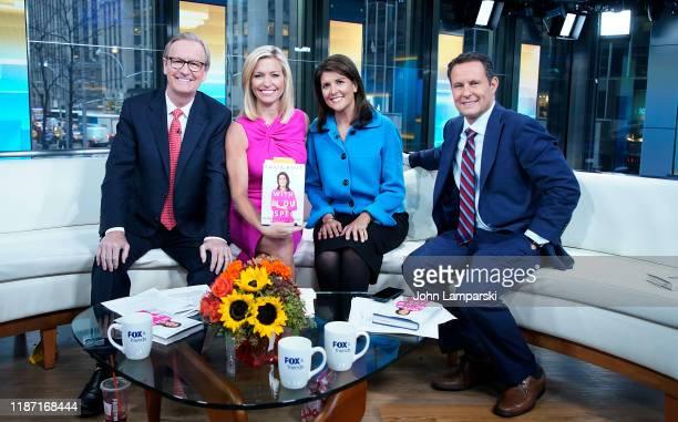 "Fox anchors Steve Doocy, Ainsley Earhardt and Brian Kilmeade interview ormer UN Ambassador Nikki Haley visits ""Fox & Friends"" at Fox News Channel..."