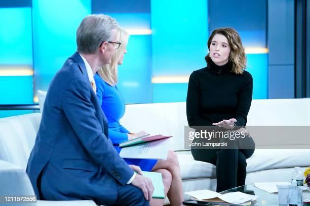 "Fox anchors Steve Doocy and Ainsley Earhardt interview author Katherine Schwarzenegger Pratt during ""Fox & Friends"" at Fox News Studios on March 10,..."