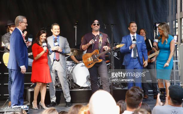 Fox anchors Steve Doocy Rachel CamposDuffy Brian Kilmeade Adam Klotz and Ainsley Earhardt and Brice Lee attend Fox Friendson August 24 2018 in New...