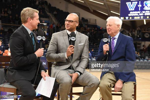 Fox announcers Rob Stone Donny Marshall and Bill Raftery on the air before a college basketball game between the St John's Red Storm and the...
