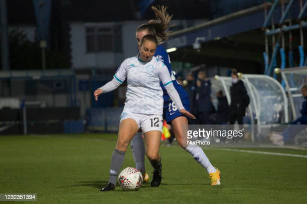 Fox battle for the ball during the 2020-21 FA Womens Cup fixture between Chelsea FC and London City at Kingsmeadow on April 16, 2021 in Kingston upon...