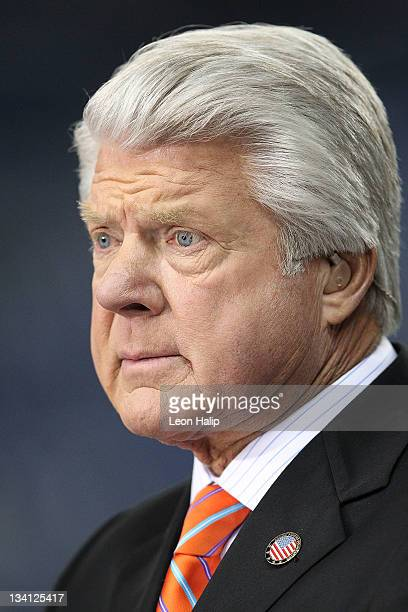 Fox broadcast team member Jimmy Johnson works during the Thanksgiving Day Game between the Green Bay Packers and the Detroit Lions at Ford Field on...