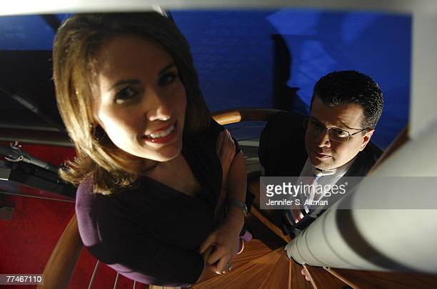 Fox Business Network's managing editor Neil Cavuto Vice President for Business News Alexis Glick are seen on the set of their new studio in Manhattan...