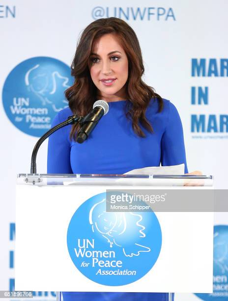 Fox CoAnchor of 'Good Day Wake Up' Teresa Priolo speaks on stage at the 4th Annual UN Women For Peace Association Awards Luncheon at United Nations...