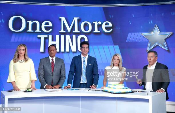 Fox cohosts of The Five Katie Pavlich Juan Williams Jesse Watters Dana Perino and Greg Gutfeld welcome Columbus Zoo for Animals Are Great Segment at...