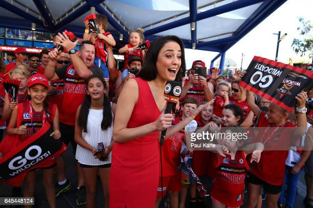 Fox commentator Abbey Gelmi performs a piece to camera before game one of the NBL Grand Final series between the Perth Wildcats and the Illawarra...